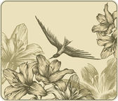 Vintage background with a flying bird and blooming lilies. Vecto — Stock Vector