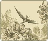 Vintage bakgrund med en flygande fågel och blommande liljor. vecto — Stockvektor