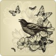 Vintage background with birds, roses and butterflies. Vector ill — Stock Vector