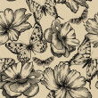 Seamless pattern with roses and butterflies, hand drawing. Vecto - Stock Vector