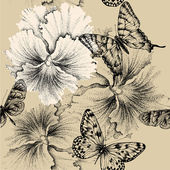Seamless pattern with pansies and butterflies. Vector illustrati — Stock Vector