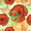 Seamless pattern with red poppies and butterflies, hand-drawing. — Imagen vectorial