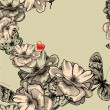 Seamless pattern with blooming roses, butterflies and red hearts — Imagen vectorial