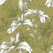 Seamless pattern with flowers lilies. Vector illustration. — Vector de stock