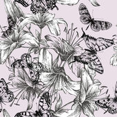 Seamless pattern with blooming lilies and black butterflies. Vec — Stock Vector