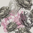 Seamless pattern with blooming roses on gray background, hand drawing. Vector illustration. — Stockvector