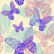 Seamless decorative pattern with colorful butterflies, hand-draw — Stock Vector