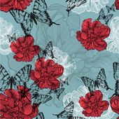 Seamless pattern with red tulips and black butterflies. Vector i — Stock Vector