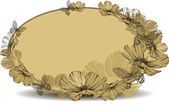 Vintage oval frame with flowers and butterflies. Vector illustra — Stockvektor