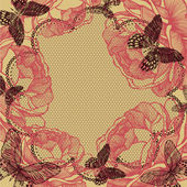 Flower background with lace, roses and butterflies. Vector illus — Vector de stock