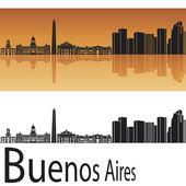 Buenos Aires skyline in orange background — Stock Vector