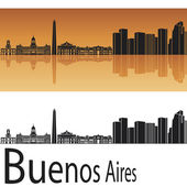 Buenos Aires skyline in orange background — Stock Vector