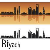 Riyadh skyline in orange background — Stock Vector