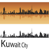 Kuwait City skyline in orange background — Stock Vector