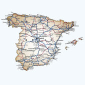 Road map of Spain — Stock Vector