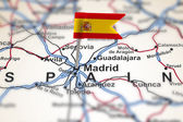 Pin with flag of Spain in Madrid — Stock Photo