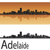 Adelaide skyline in orange background — Stock Vector
