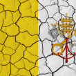Flag of the Vatican City over cracked background — Stock Photo
