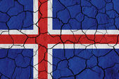 Flag of Iceland over cracked background — Foto de Stock