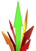 Red and green arrows 3D illustration — Stock Photo