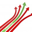 Red and green arrows 3D illustration - Stock Photo