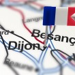 Pin with flag of France in Dijon - Stock Photo
