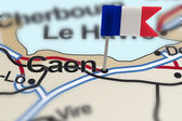 Pin with flag of France in Caen — Stock Photo