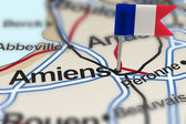 Pin with flag of France in Amiens — Stock Photo