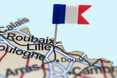 Pin with flag of France in Lille — Stock Photo