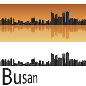 Busan skyline in orange background — Stock Vector