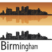 Birmingham skyline in orange background — Stock Vector