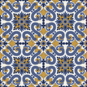 Classic vintage seamless pattern in blue and yellow — Stock Vector
