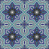 Arabesque seamless pattern in blue and turquoise — Stock Vector