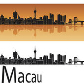 Macau skyline in orange background — Stock Vector