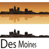 Des Moines skyline in orange background — Stok Vektör