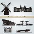 Amsterdam landmarks and monuments — Stock Vector