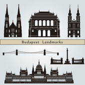 Budapest landmarks and monuments — Stock Vector
