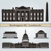 Washington DC landmarks and monuments — Stock Vector