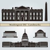 Washington DC landmarks and monuments — Stock Vector