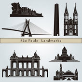Sao Paulo landmarks and monuments — Stock Vector