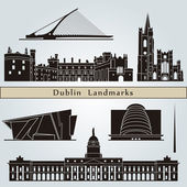 Dublin landmarks and monuments — Stock Vector