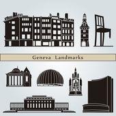 Geneva landmarks and monuments — Stock Vector