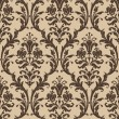 Damask seamless pattern in brown and beige — Imagen vectorial