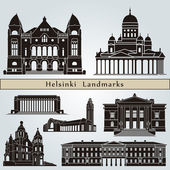 Helsinki landmarks and monuments — Stock Vector