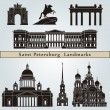Saint Petersburg landmarks and monuments — Vettoriali Stock
