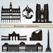 Brussels landmarks and monuments — Stock Vector