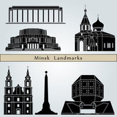 Minsk landmarks and monuments — Stock Vector