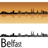 Belfast skyline in orange background — Stock Vector