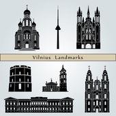Vilnius landmarks and monuments — Stock Vector