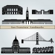 San Francisco landmarks and monuments — Stock Vector